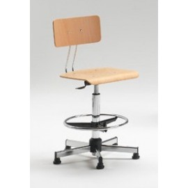 Emmeitalia - Designer Stool Beechwood Seat Adjustable Height Made in Italy