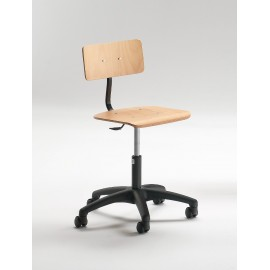 Emmeitalia - Drafting Chair Beechwood, Technopolymer and Steel with Castors Made in Italy