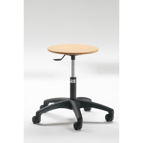 Emmeitalia - Designer Stool Round Beechwood Seat and Steel with castors Made in Italy