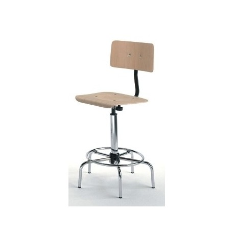 Emmeitalia - Designer Stool Beechwood and chrome-plated Steel with Backrest Made in Italy