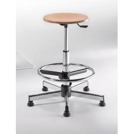 Emmeitalia - Designer Stool Round beechwood seat adjustable footstool Made in Italy