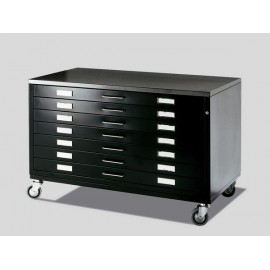 Draftech Premium - 7 Drawers DIN A0 on Castors White or Black