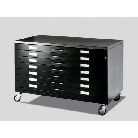 Draftech 7 Drawers DIN A0 on Castors - Black