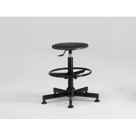 Designer Stool with Flan Black and Adjustable Footrest