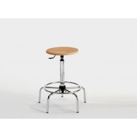 Emmeitalia - S Stool with round beech seat -height 60/85 cm