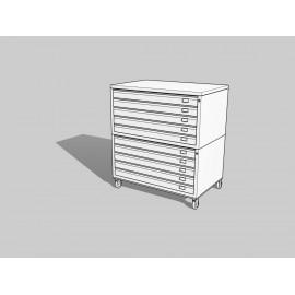 EIT-Draftech Basic - Cassettiera A0 -10 Cassetti - Bianco - Ruote