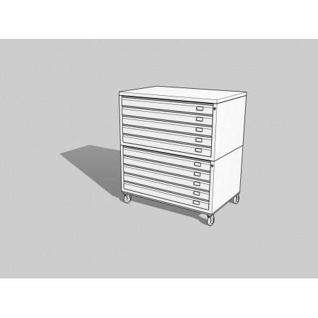 Draftech Basic - Cassettiera A0 -10 Cassetti - Bianco - Ruote