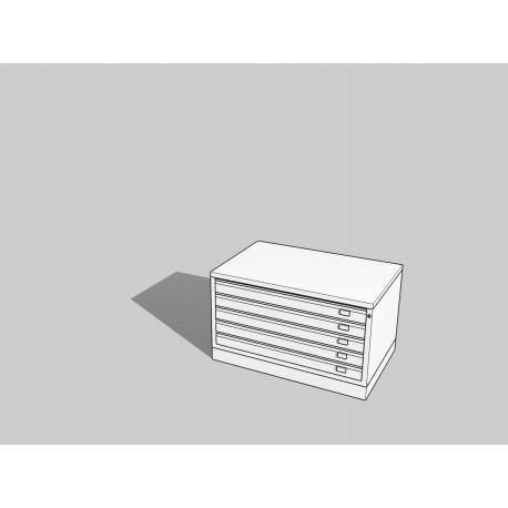 Draftech Basic - Cassettiera A0 -5 Cassetti - Bianco