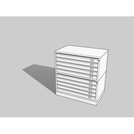 Draftech Basic - Cassettiera Metallica A1 -10 Cassetti - Bianco