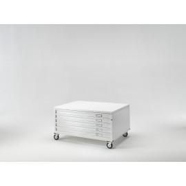 Draftech Basic - Cassettiera A0 -5 Cassetti - Ruote - Bianco
