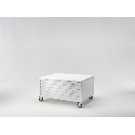 Draftech Basic - Cassettiera A1 -5 Cassetti - Ruote - Bianco